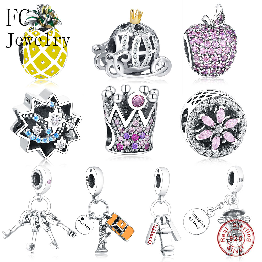 FC Jewelry Fit Original Pandora Charms Bracelets 925 Sterling Silver Four Heart Key Pink Zricon Crystal Beads Pendant Berloque(China)