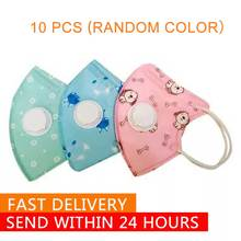 10pcs Cartoon N95 Mask Kids Face Mask N95 With Valve 4-10 Years Old Kids Masks For Virus Germ Protection Coronavirus Disposable