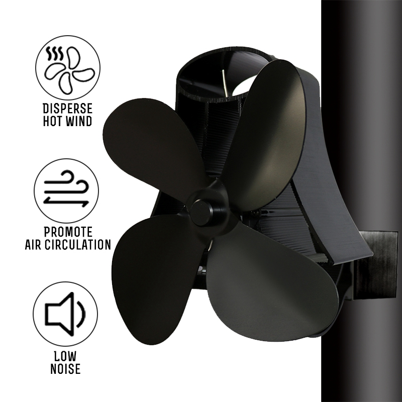 Wall Mounted Type 4 Blade Heat Powered Stove Fan Log Wood Burner Eco Quiet Home Fireplace Fan Fuel Saving Heat Distribution