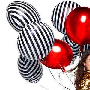 Fashion Black White Stripe Balloons Wedding Party Ballons Decoration Birthday Creative Bar Foil Balls Background Balls Wholesale