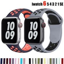 Correa de silicona para Apple Watch, banda transpirable de 44mm, 40mm, 42mm y 38mm, pulsera deportiva iWatch serie5 4 3 SE 6
