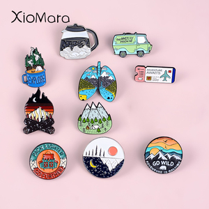 Go Travel ! Adventure Pin Mountain Forest Lakes Earth Explore Nature Bus Enamel Pin Button Badge Brooch Women Men Outdoorsy Gift(China)