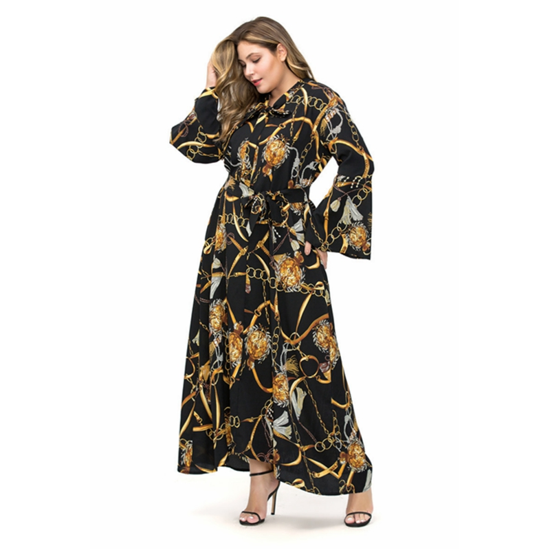 Large size XXL-5XL Muslim Women Turkey Abaya Print Dress Islamic Arabian Dubai Femme Maxi Kaftan Modest Islamic Chiffon Clothing image