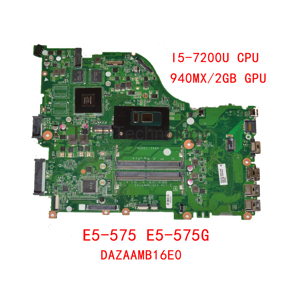 HOLYTIME Laptop Motherboard For ACER Aspire E5-575 E5-575G DAZAAMB16E0 DDR4 SR2ZU i5-7200U CPU <font><b>940MX</b></font>/2GB GPU NBGD811005 image