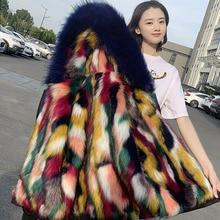 купить Faux Fur Coat Autumn Park Women's Leather Jacket Woman Winter Thick Warm Parka Fur 2019 Real Photo New Plus Size Elegant Fluffy по цене 4391.8 рублей