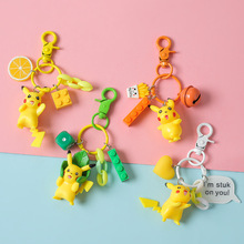 2019 New Pokemon Go Keychain Pikachu Key Chain pocket monsters keychain pendant Mini Charmander Squirtle Eevee Vulpix figures