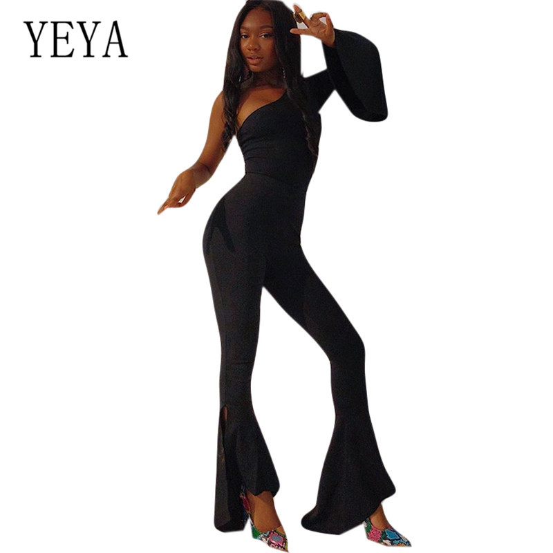 YEYA Sexy One Shoulder Long Sleeve Jumpsuits Autumn Splicing Fashion Slanted High-waisted Wide-leg Playsuits