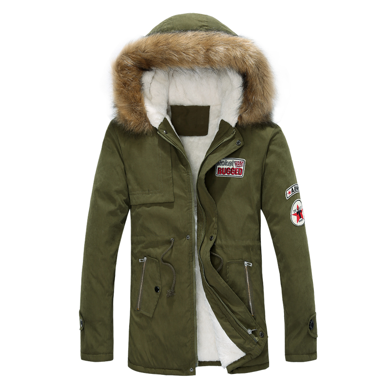 Men's Hooded Coat Winter Men's Warm Long Section Slim Jacket Jacket Men's Hooded Casual Plus Velvet Collar Casual Cotton Suit