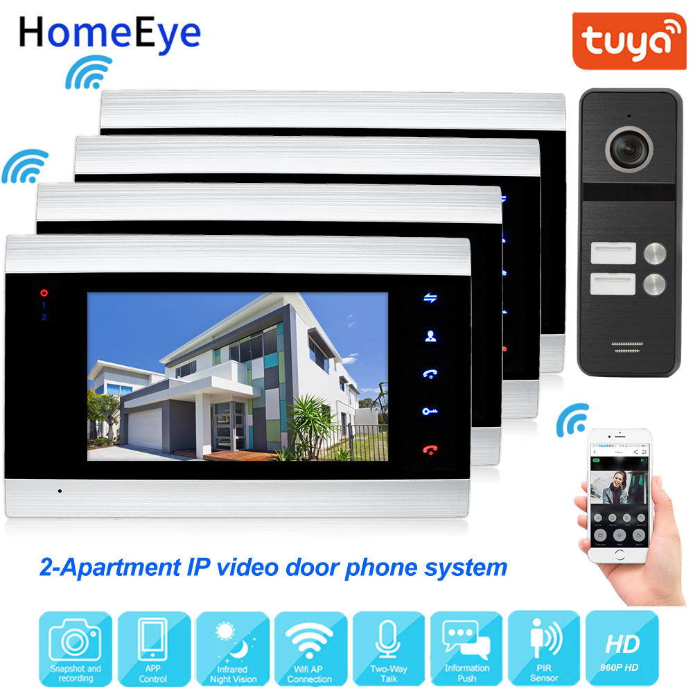 TuyaSmart App Remote Unlock IP Video Door Phone WiFi Video Intercom 2-Apartment Security Home Access Control System Touch Button