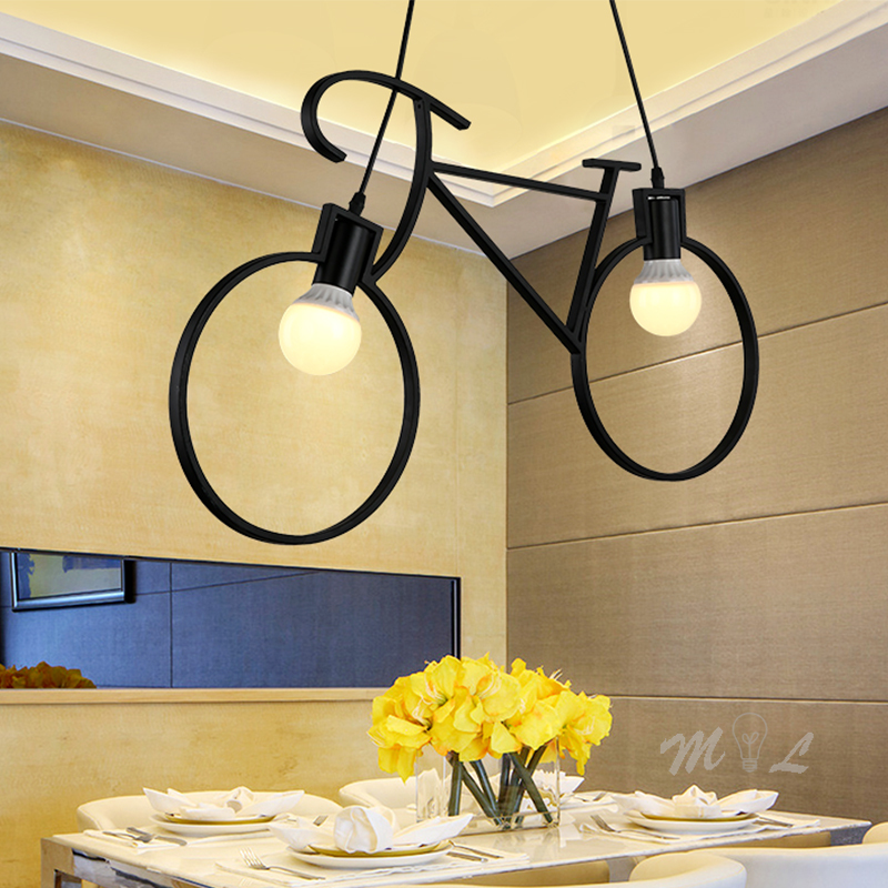 Iron Bicycle Pendant Lights Home Deco Industrial Hanging Lamp Loft Living Room Hanglamp Bedroom Lamp Restaurant Kitchen Fixtures