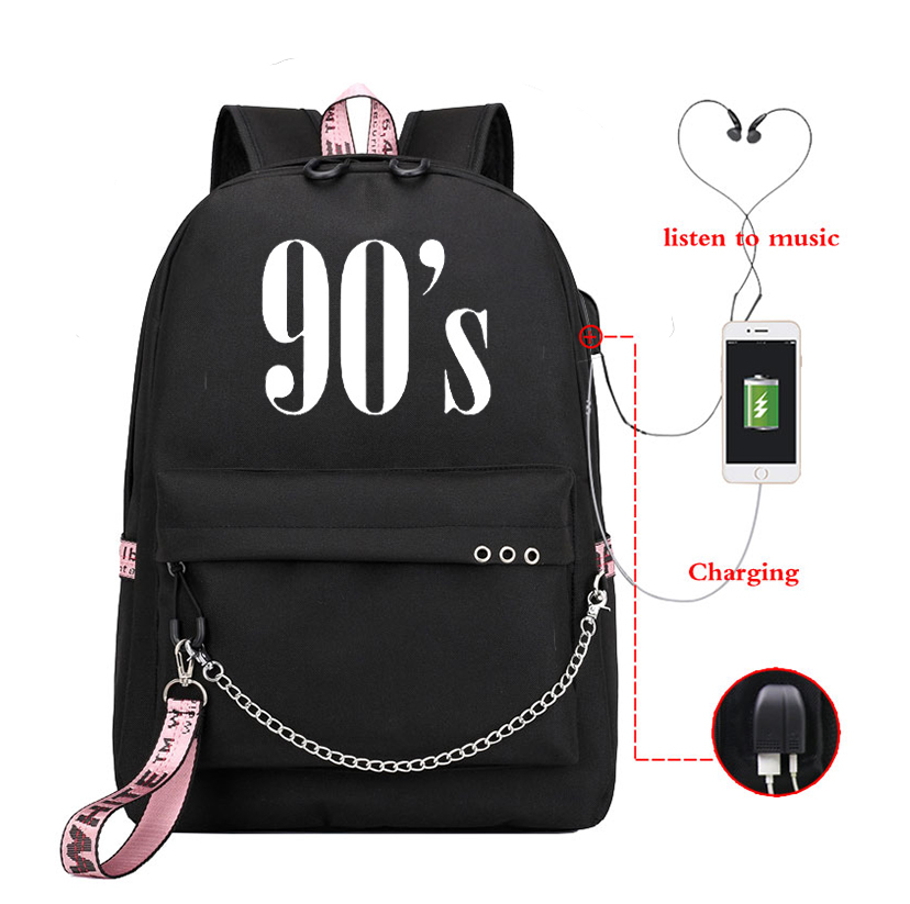 90S Printed Backpack Girls Usb Charging Backpacks Travel Soft Back Female School Bags For Laptop Mochila Bolsa De Mujer Tumblr