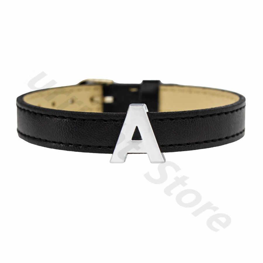 1pc A-Z シルバー無地英語の手紙アルファベット内部径: 10 ミリメートルスライド手紙チャームフィット DIY キーチェーンブレスレット首輪