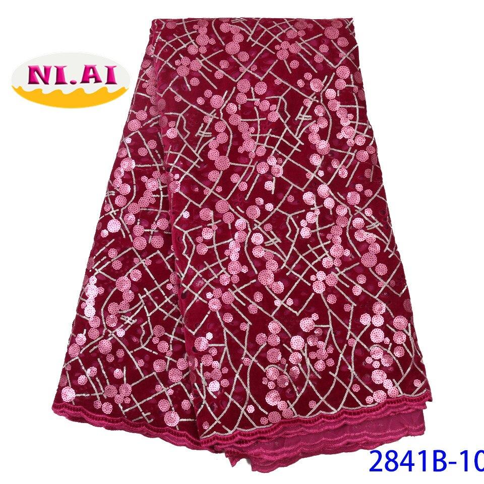 Ev ve Bahçe'ten Dantel'de Organze dantel kumaş dizileri ile gül kırmızı afrika dantel kumaş 2019 yüksek kalite tül dantel Trim parti elbise NA2841B 5'da  Grup 1