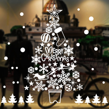 2020  Merry Christmas Window Sticker Happy New Year Wall Stickers Transparent Santa Claus Decoration for shop Home