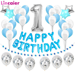 37pcs Silver Number 1 Blue Latex Balloons First Happy Birthday Party Decorations My One Year 1st Baby Prince Boy Girl Supplies