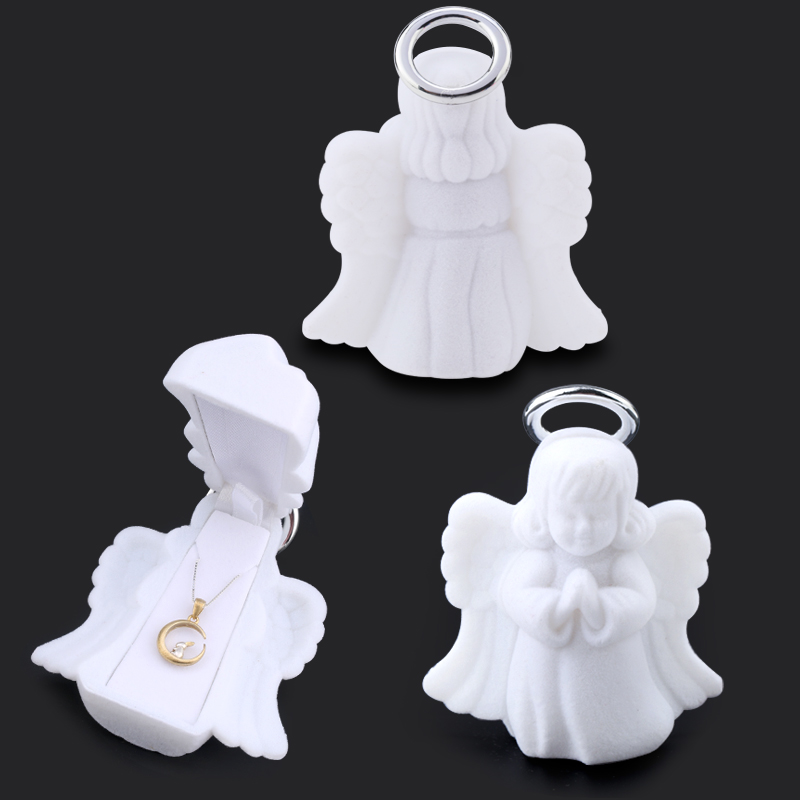 1Piece White Jewelry Box Lovely Angel Velvet Wedding Ring Box Necklace Display Box Gift Box Container Case For Jewelry Packaging