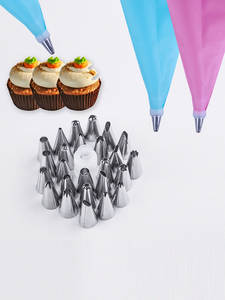 24-Nozzle-Set Pastry-Bag Cake-Decorating-Tools Icing-Piping-Cream Silicone Reusable Kitchen
