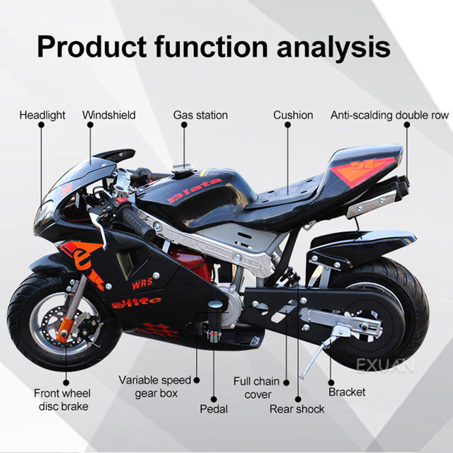 Disc Brake Race Small Sports Car Small Car 2020 Double Headlight Type Four Stroke Mini Motorcycle Pure Gasoline 49cc 6