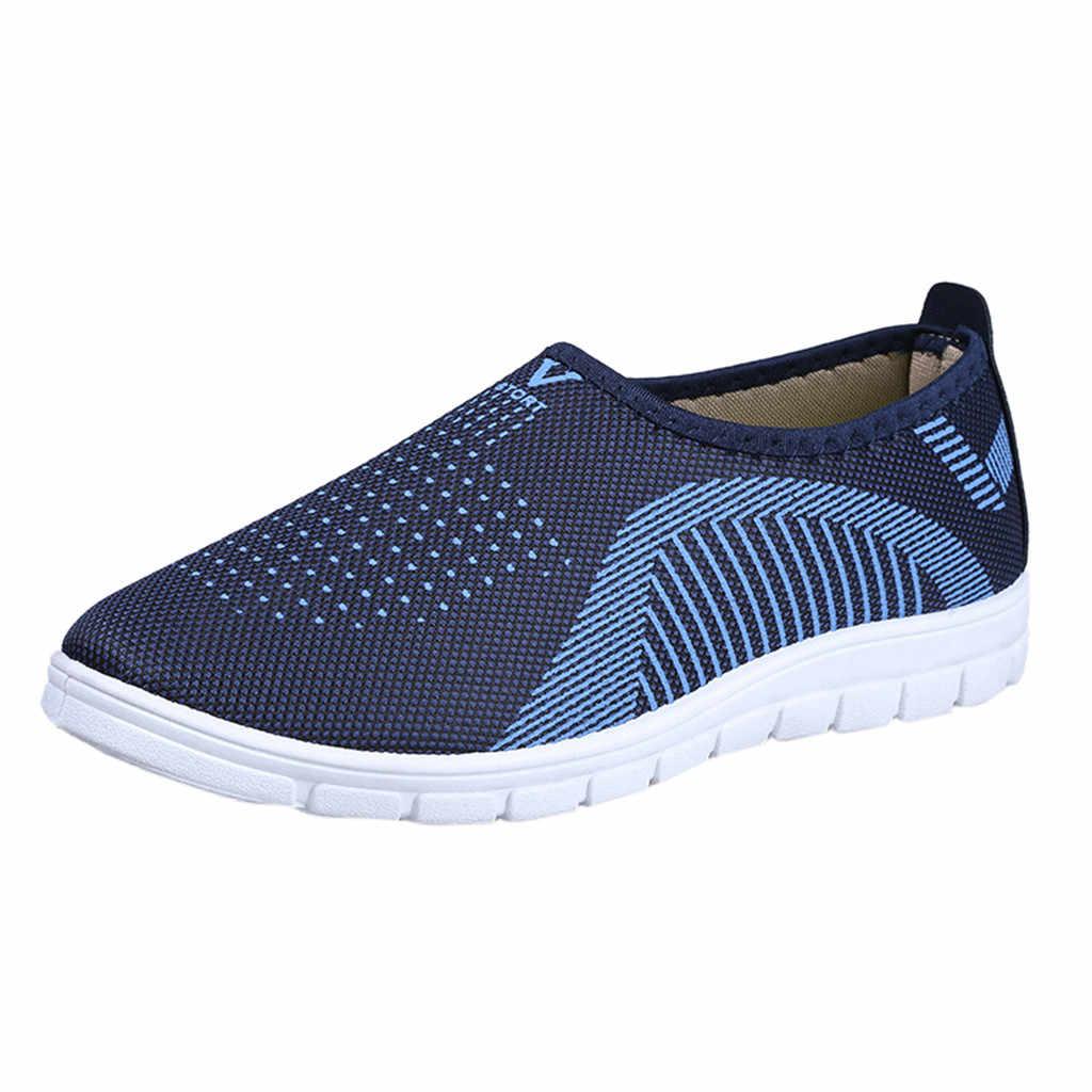 รองเท้าผ้าใบรองเท้าผู้ชายกีฬา Breathable ตาข่ายแบนผ้าฝ้ายสบายๆลายรองเท้าผ้าใบ Loafers นุ่มรองเท้า #25