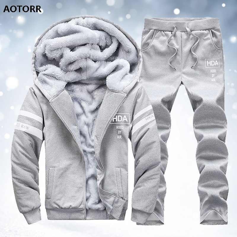 Winter Warm Men Patchwork Fur Fleece Hoodies Sweatshirt Tops Pants Tracksuit Set
