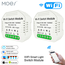 MiNi Wifi Smart Light Switch Diy Breaker Module Smart Life/Tuya APP Remote Control,Works with Alexa Echo Google Home 1/2 Way