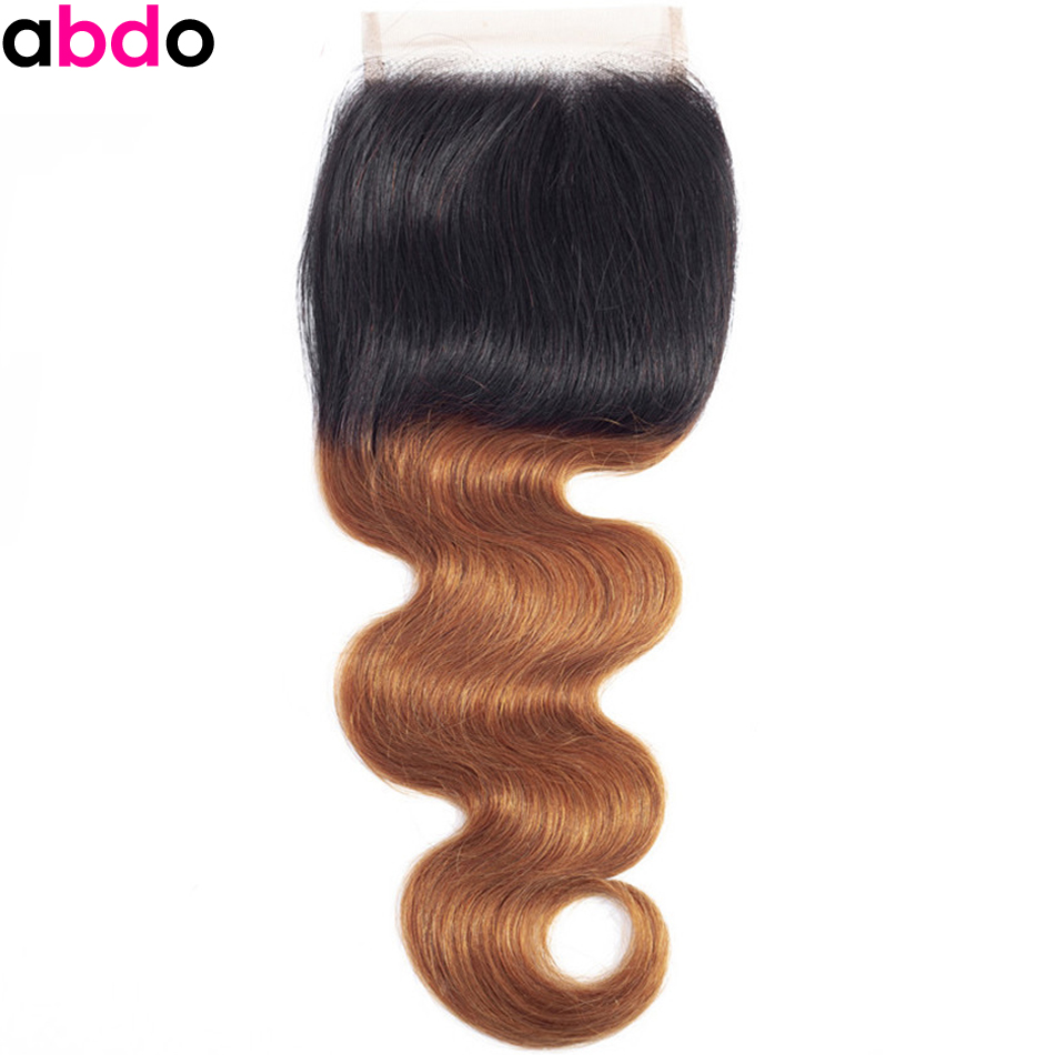 Body Wave Closure Ombre 1B/30 Lace Closure 4*4 Brazilian Closure Remy Human Hair Closure 22 Inch Free/Middle Part Closure Abdo