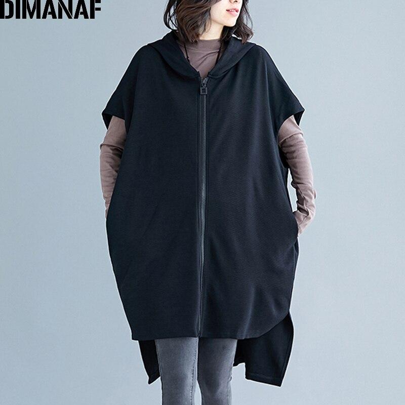DIMANAF Plus Size Autumn Outerwear Women Jacket Coat Big Size 2019 Zipper Bat Sleeveless Female Loose Long Coats Black Clothes