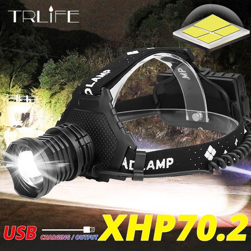 Leistungsstarke 8000LM XHP70.2 LED Scheinwerfer USB Aufladbare Scheinwerfer Wasserdichte Zoomable Power Bank Angeln Licht Mit 18650 Batterie