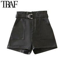 TRAF-pantalones cortos con cinturón de piel sintética para Mujer, pantalón corto elegante de cintura alta con cremallera y bolsillos