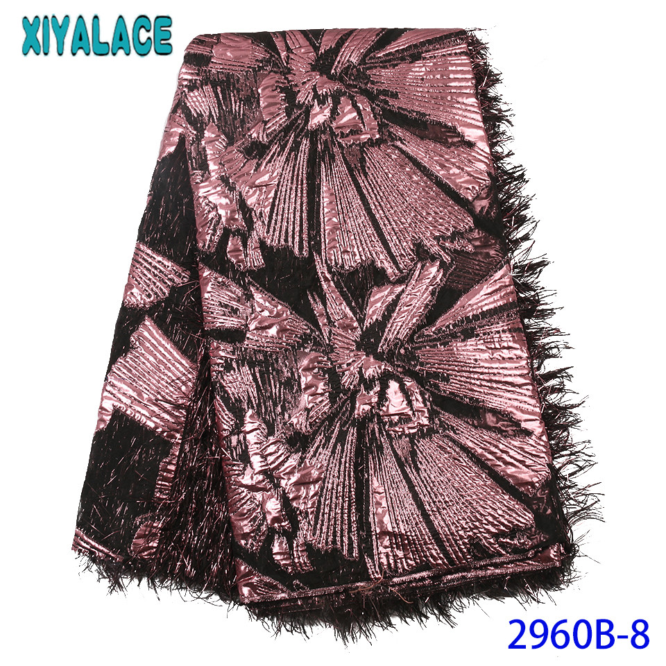 Latest Nigerian Lace Fabric 2019 High Quality Brocade Fabric Lace With Feather For African Party KS2960B-8