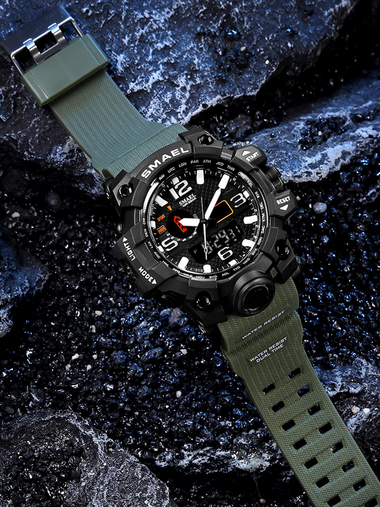 SMAEL Quartz Wristwatches Dual-Display Digital Swimming Waterproof Electronic Brand Men