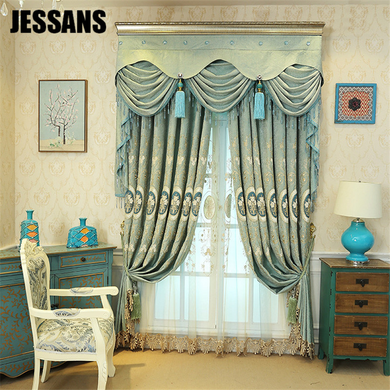 Thick Chenille Embroidery Curtains For