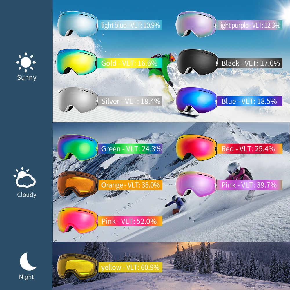Лыжные очки COPOZZ, лыжные сферические, антизапотевающие очки, с футляром и желтой линзой UV400 для катания на лыжах, мужские и женские + сменные линзы + футляр для хранения
