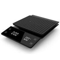 Mão gotejamento café escala 0.1g/3kg sensores de precisão cozinha comida escala com temporizador incluem almofada de silicone à prova dwaterproof água