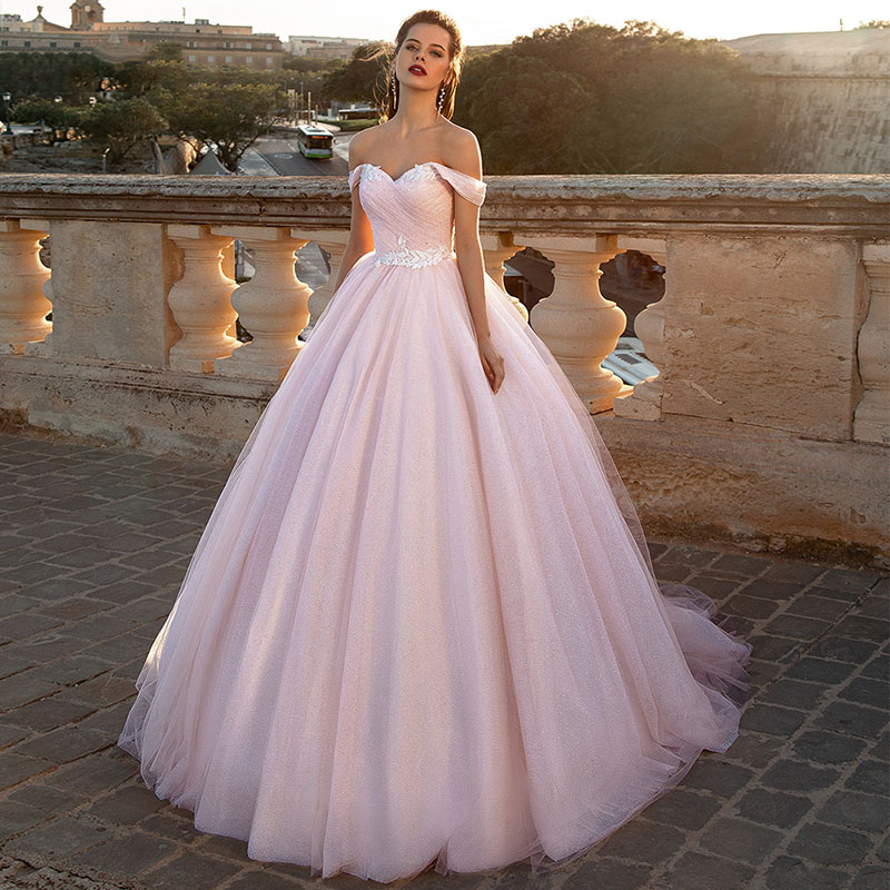 Eightree Sweetheart Pink Ball Gown Glitter Wedding Dress Vestido De Novia Appliques Lace Up Off The Shoulder Wedding Gowns 2020