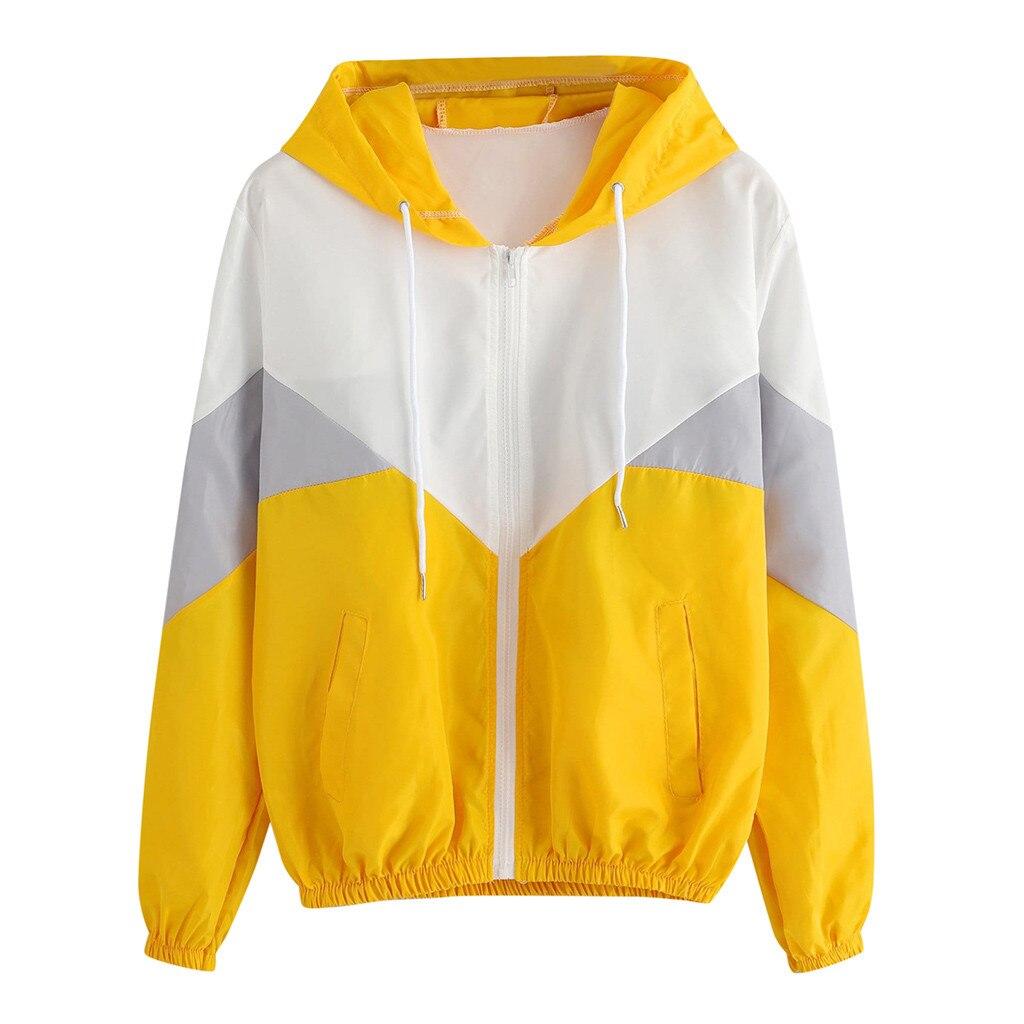 Female Jacket Women Long Sleeve Patchwork Hooded Zipper Pockets Casual Sport Coat women's windbreaker coat chaqueta mujer