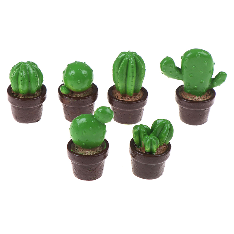 5Pcs Cute Green Mini Tree Potted For 1:12 Dollhouse Miniature Cactus Succulents Green Plant In Pot Doll House Simulation Potted