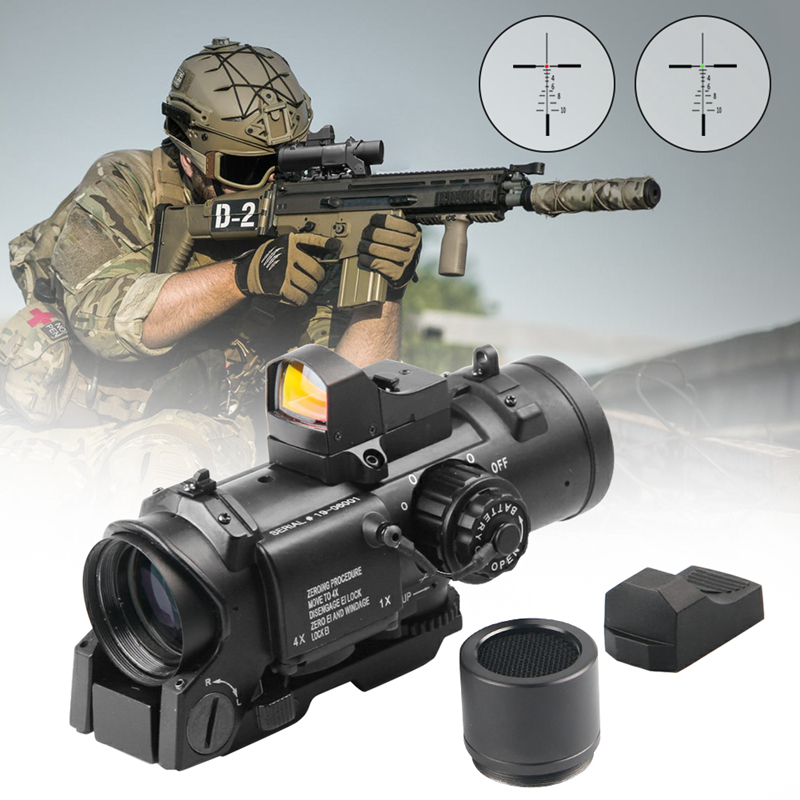 Quick Detachable Tactical 1x-4x Fixed Dual Role Optic Rifle Scope With Mini Red Dot Scope RMR For Rifle Hunting Airsoft Shooting