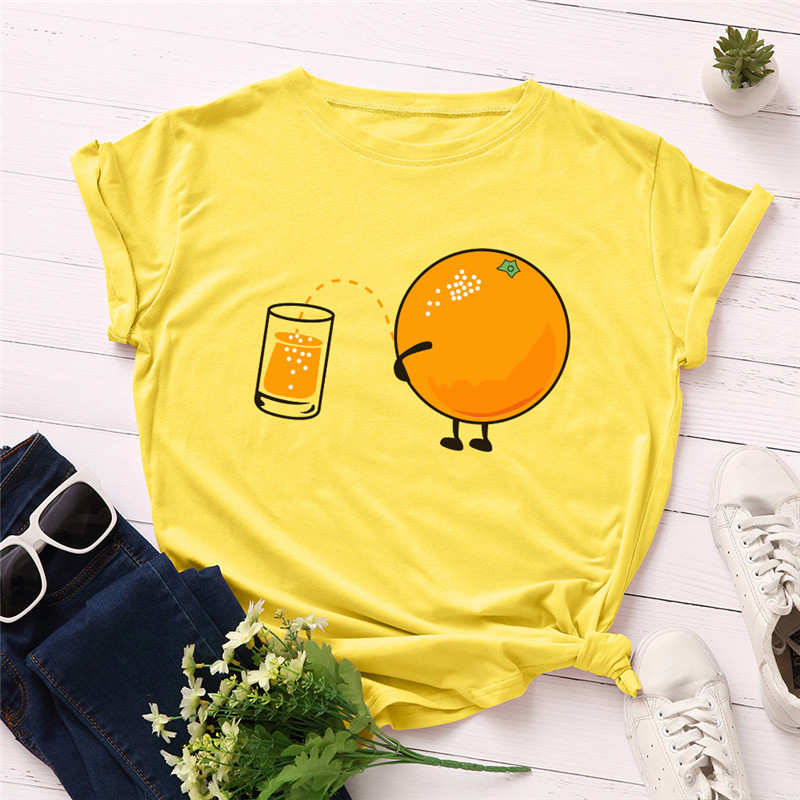 Plus Size S-5XL Lovely Orange Print T Shirt Women 100%Cotton O Neck Short Sleeve Tees Summer T-Shirt Pink Tops Casual TShirt