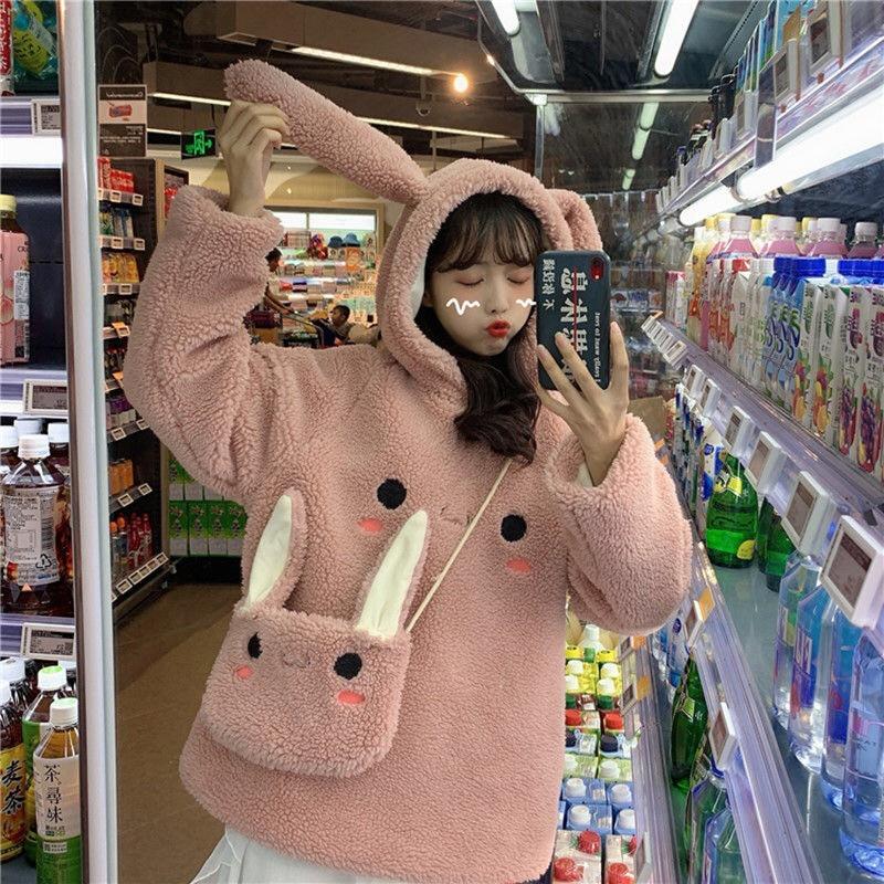 EACHIN Women Warm Cute Bunny Hoodies Grils Long Sleeve Fashion Lovely Rabbit Bag Hooded Female Winter Loose Casual Sweatshirts
