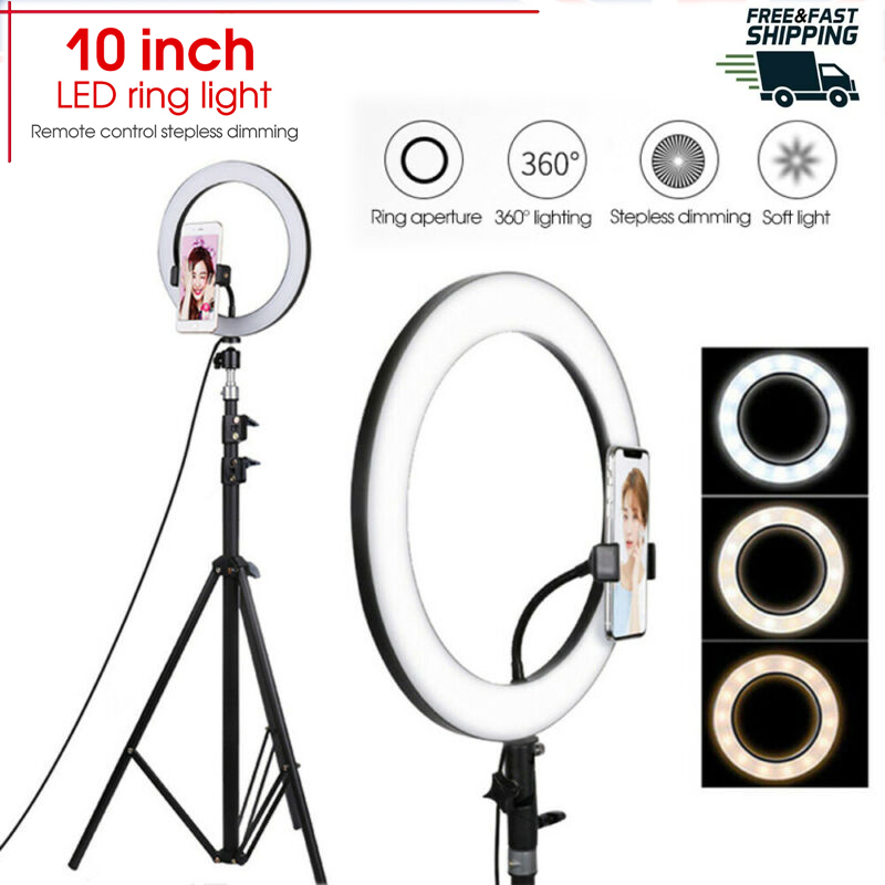 Photography LED Selfie Ring Light 3 Color Dimmable Camera Phone Ring Lamp 10inch With Table Tripods For Makeup Video Live Studio