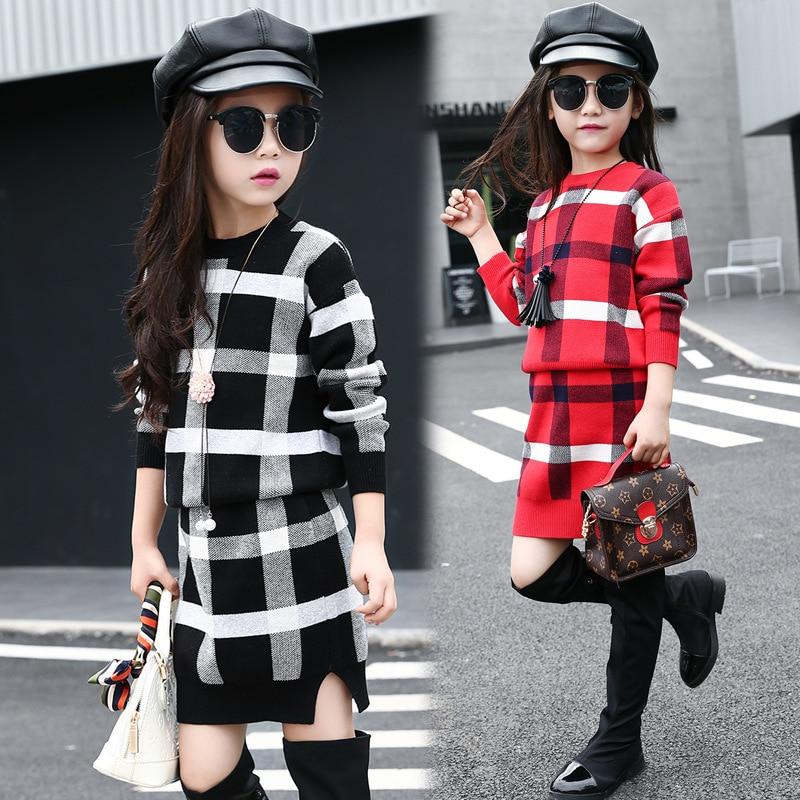 5 ~ 11T adolescents filles printemps automne tenues vêtements pour adolescente fille grille hauts jupe vêtements ensemble formel Boutique Plaid vêtements - 5