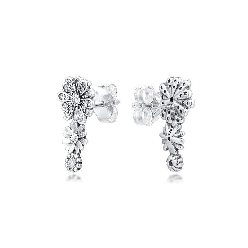 Sparkling Daisy Flower Trio Stud Earrings Sterling Silver Earrings for Women Charm Jewelry Clear CZ Crystal Girls Earrings Love