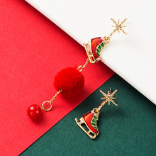 Модные рождественские снежные сапоги с подвеской серьги имитацией