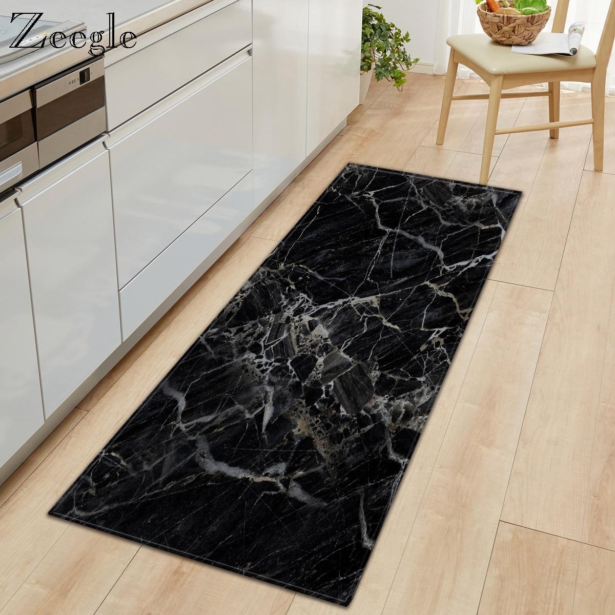 Zeegle Long Floor Mat Carpet For Living Room Marble Printed Entrance Doormat Kitchen Bathroom Anti-slip Rug Polyester Carpet