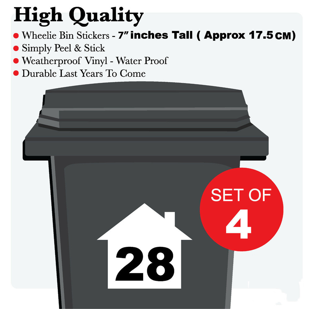4 X  WHEELIE BIN NUMBERS CUSTOM HOUSE NUMBER VINYL GRAPHIC STICKERS DECAL HIGH QUALITY