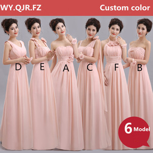 Image 3 - QNZL70#V neck A Line Lace Up Chiffon Peach Purple Champagne pink Bridesmaid Dresses Long wholesale Custom wedding party dress