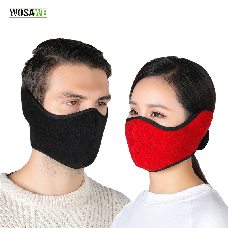 Winter Warmer Cycling Half Face Mask Fleece Windproof Bike Bicycle Skiing Snowboard Training Mask Outdoor Sport Accessories
