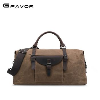 SOURCE Retro Travel Bag Hand Large Capacity Oil Wax Canvas Bag Horse Leather MEN'S Bag Waterproof Travel Folding Bag
