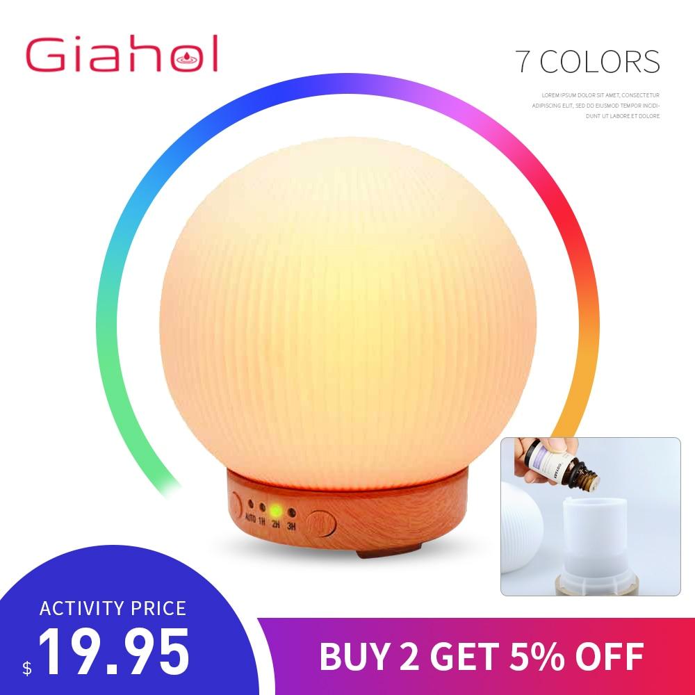 GIAHOL Humidifi Ar Umidificadores de Ar Aromaterapia Aroma do Óleo Essencial Difusor 3D 7 Cor Led de Luz Branca Névoa Criador Mudo Diffus